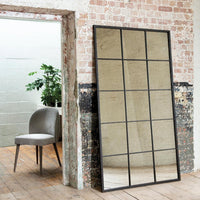 Large Antiqued Iron Window Pane Mirror 184cm High | Annie Mo's