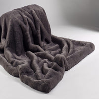 Plain Faux Fur Throw  - Russian Blue | Annie Mo's