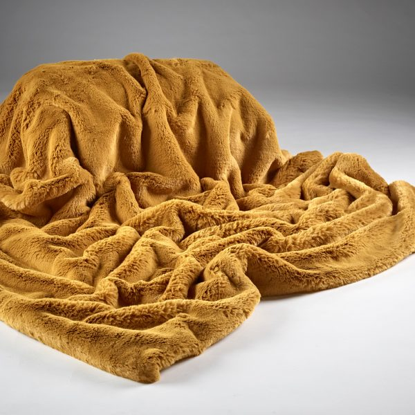 Plain Faux Fur Throw - Soft Mustard | Annie Mo's