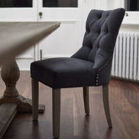 Brushed Charcoal Wool Dining Chair | Annie Mo's