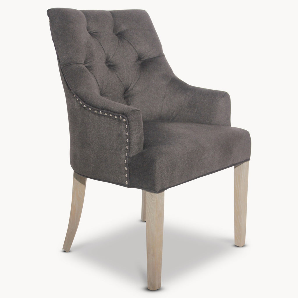 Brushed Charcoal Wool Carver Dining Chair | Annie Mo's