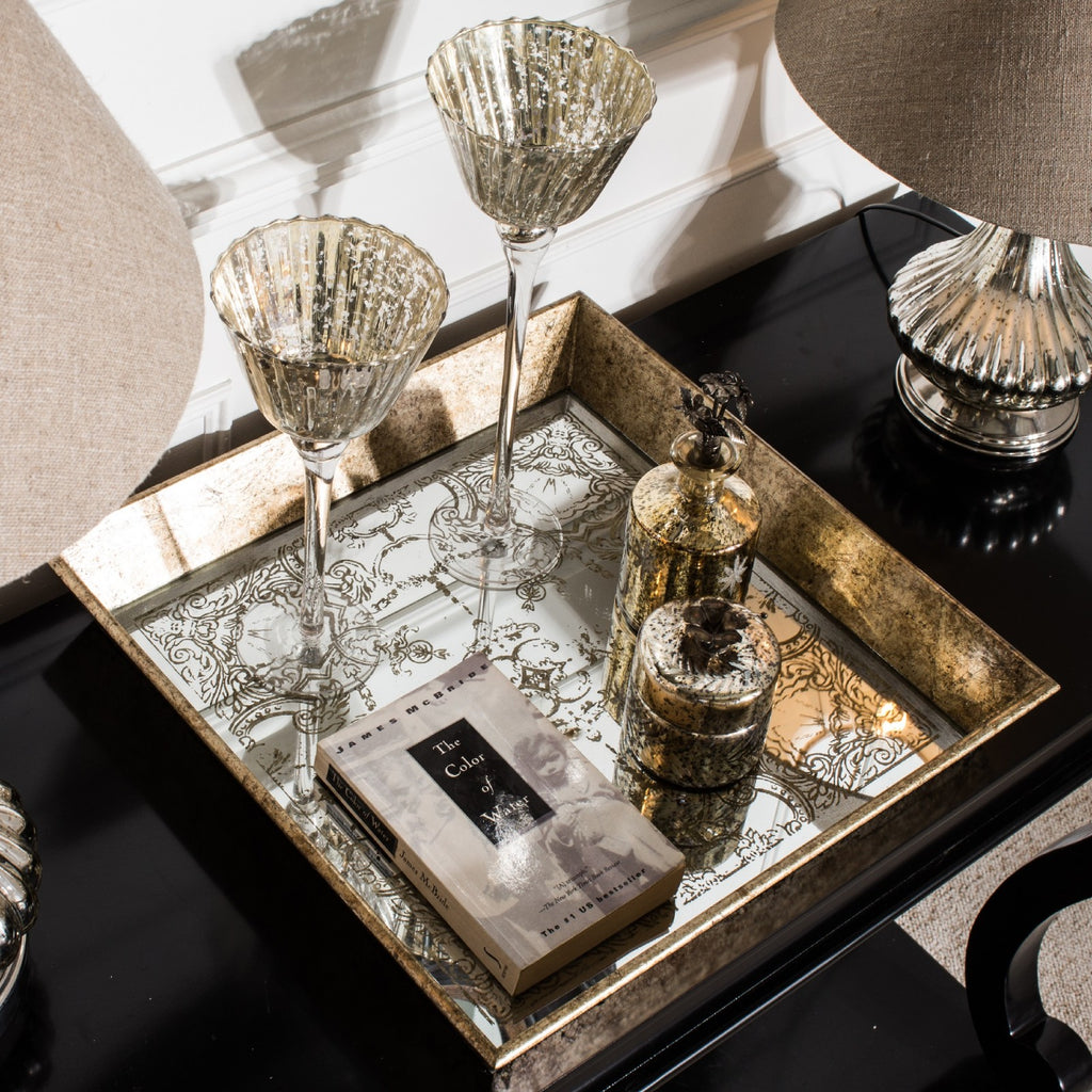Square Tray with Mirrored Decorative Pattern | Annie Mo's