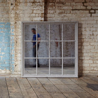 Wilton Grey Mirror with Wooden Grid