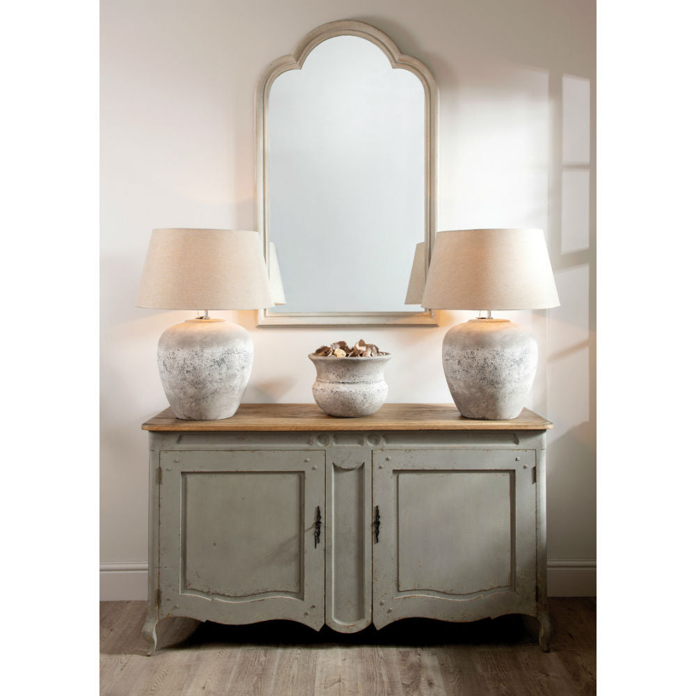 Grey Rounded Wooden Mirror | Annie Mo's