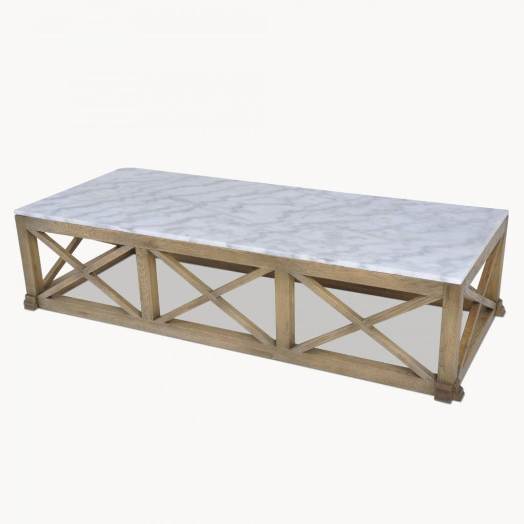 Large Oak and Marble Coffee Table 170cm | Annie Mo's