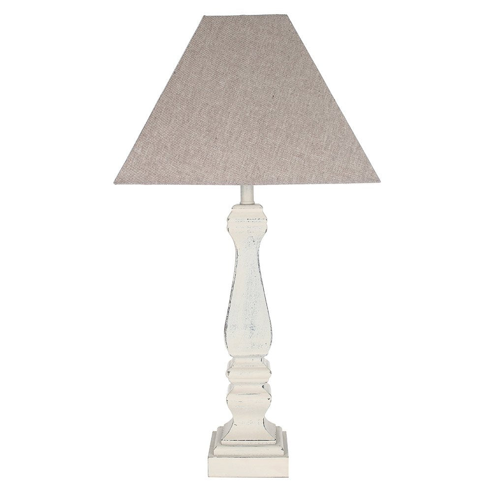 French Grey Table Lamp with Shade 51cm