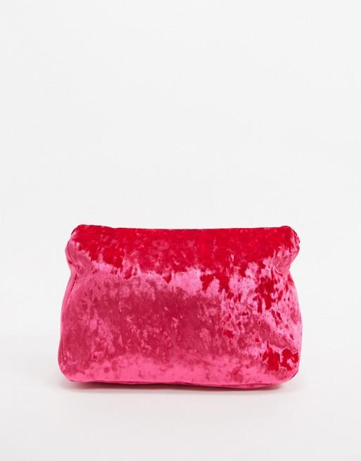 Stunner Velvet Rolled Clutch Bag