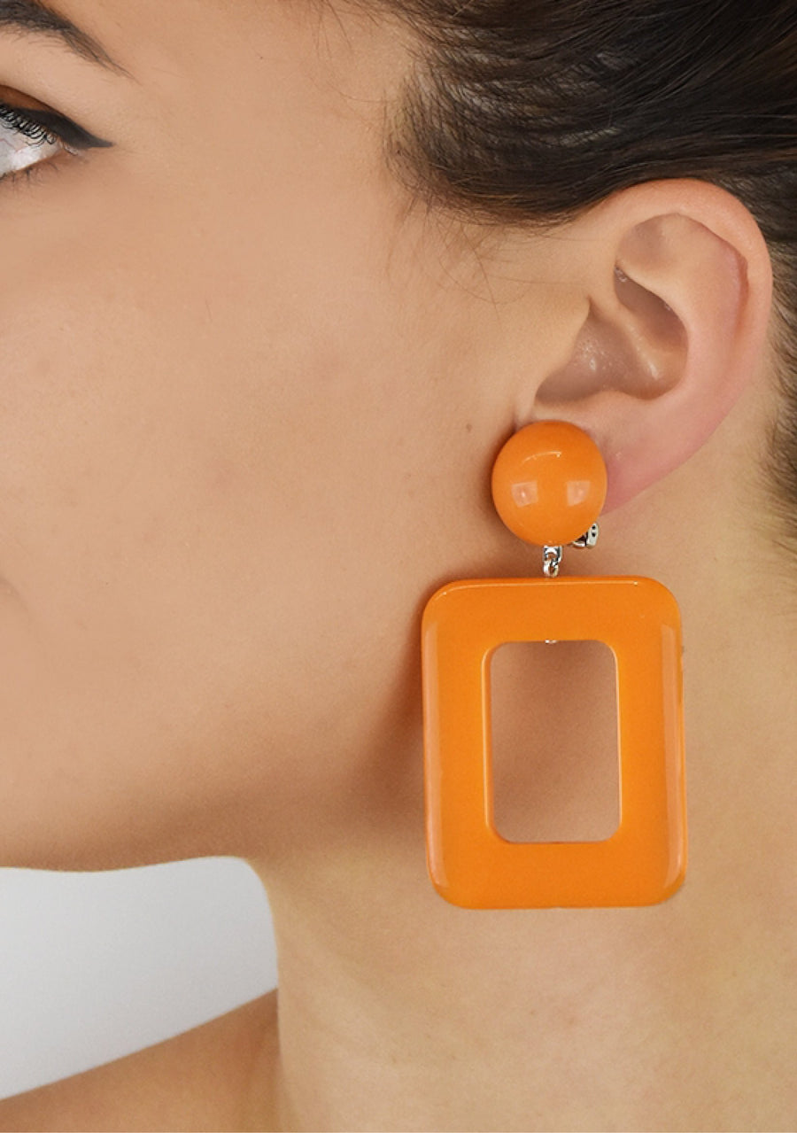 Orange Rectangle Earrings