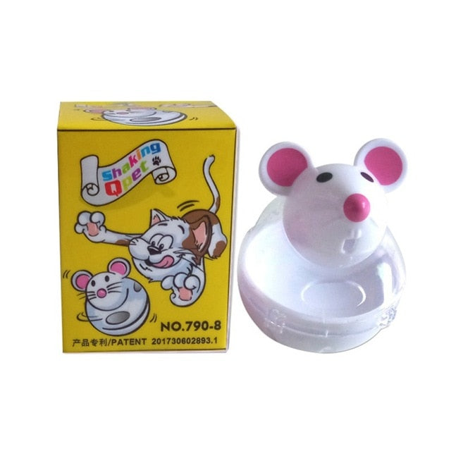 Pet Feeder Food Automatic Leakage Snack Dispenser Artificial False Mice Mouse Shape Pattern Tumbler Rolling Toy For Cat