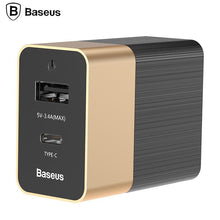 Load image into Gallery viewer, Baseus Type-C USB Fast Charger 2.0+3.4A Travel Wall Charger Adapter Mobile Phone Charger