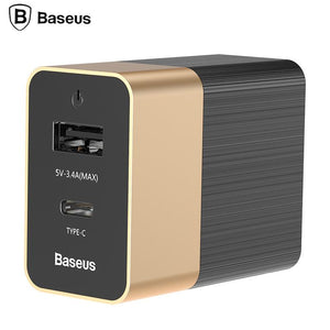 Baseus Type-C USB Fast Charger 2.0+3.4A Travel Wall Charger Adapter Mobile Phone Charger