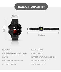 Fitness Bracelet IP67 Waterproof Color-Screen Bluetooth Smart Wristband M10 Heart Rate Monitor Sport Smart Tracker