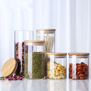 Glass Jar With Bamboo Lid Food Candy Storage Bottles Tea Container Cup Sealing Violetta Mason Jars Kitchen Accessories