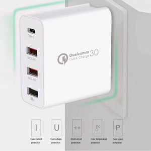 4 Ports Universal Car Wall Charger Power Supply Travel Adapter 48W PD Type C USB Mobile Phone Tablet Home Portable Fast Plug