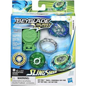 Hasbro Beyblade Burst Slingshock Rip Fire Starter Pack Forneus F4: Light-Up Top