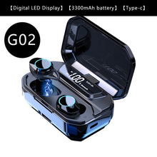Load image into Gallery viewer, G02 V5.0 Bluetooth Stereo Earphone Wireless IPX7 Waterproof Touch Earbuds Headset 3300mAh Battery LED Display Type-c Charge Case