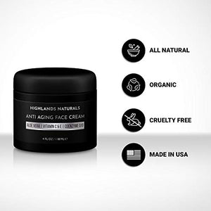 Anti Aging Face Cream for Men - Anti Wrinkle Face Moisturizer Natural & Organic, 4 oz, Scented