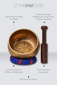 Tibetan Singing Bowl Set with Healing Mantra Engravings — Meditation Sound Bowl