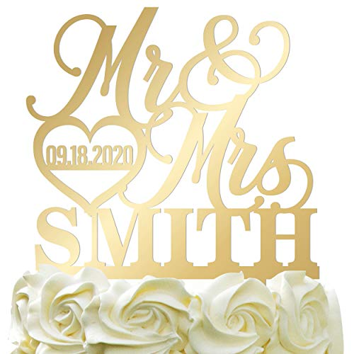 Personalized Wedding Cake Topper Wedding Cake Decoration Elegant Customized Mr Mrs Last Name Date With Heart Mirrored Acrylic