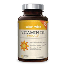 Load image into Gallery viewer, NatureWise Vitamin D3 5,000 IU (1 Year Supply) for Healthy Muscle Function, Bone Health, & Immune Support 360 Count