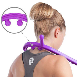 Body Back Buddy Trigger Point Back Massager, Full Body Muscle Pain Relief, Handheld Massage Stick, Massage Cane, Instructions Included (Purple)