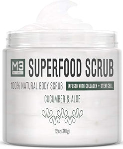 M3 Naturals Superfood Scrub infused with Collagen and Stem Cell  Skin Care 12 oz