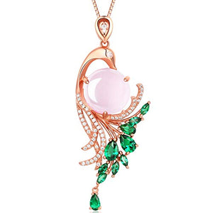 HXZZ Fine Jewelry  Sterling Silver Natural Gemstone Rose Quartz Pendant