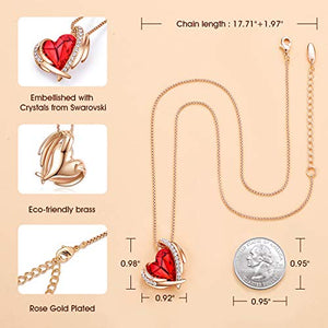 CDE Necklace for Women Red Angel 18K Rose Gold Plated Pendant Necklace Embellished with Crystals from Swarovski Necklace Heart Jewelry Fashion for Women, Gift for Christmas