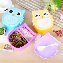 Load image into Gallery viewer, Microwave Bento Container with compartments Case Dinnerware bento box food box Storage for kids Kawaii Owl school lunch box