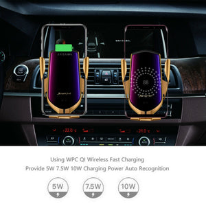360 Degree Rotation Auto Clamping Air Vent Phone Holder Charging Wireless Car Charger Mount Universal for iphone Huawei Samsung