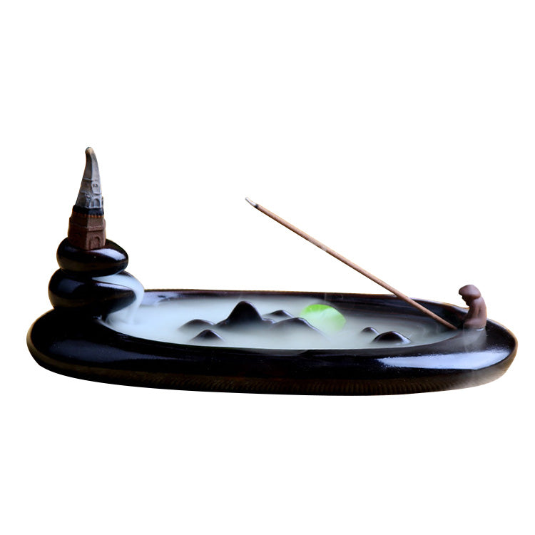 Jiang Taigong Fishing Purple Sand Backflow Incense Burner Ceramic Creative Ornaments Aromatherapy Furnace Mountain Water