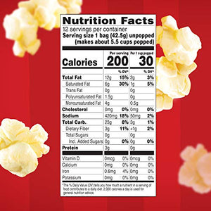 Orville Redenbacher's Movie Theater Butter Popcorn, Single Serve, Pack of Six (6) 12-Count Boxes