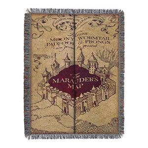 "Harry Potter Marauder's Woven Tapestry Throw Blanket, 48"" x 60"", Maruader's Map"