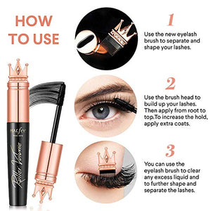 Glossiva 4D Silk Fiber Lash Mascara with Brush- Waterproof,