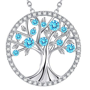 ELDA & CO. Tree of Life Aquamarine Necklace March Birthstone Jewelry Gifts for Women