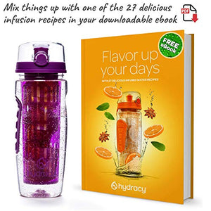 Hydracy Fruit Infuser Water Bottle - 32 oz Sports Bottle