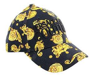 Versace Jeans Couture Black/Gold 100% Cotton Baroque Mid Visor Cap for Mens