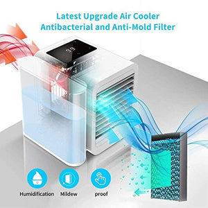 HOMFUL Personal Air Conditioner Air Cooler Fan, 3 in 1 USB Portable Mini Space Cooler, Evaporative Humidifier, Purifier, Cooling Fan for Home Offices Kitchen 2A Charger Included