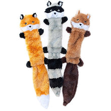 Load image into Gallery viewer, ZippyPaws - Skinny Peltz No Stuffing Squeaky Plush Dog Toy, Fox, Raccoon, and Squirrel - Large