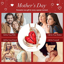 Load image into Gallery viewer, CDE Necklace for Women Red Angel 18K Rose Gold Plated Pendant Necklace Embellished with Crystals from Swarovski Necklace Heart Jewelry Fashion for Women, Gift for Christmas