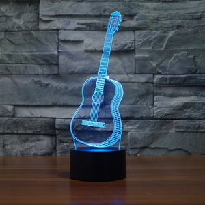 3D Optical Illusion LED guitar Night Light, 7 Color Changing Night Light, Room Decor Light, Table Desk Lamp