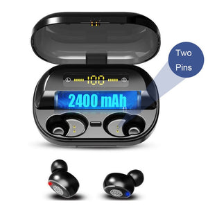 VOULAO Bluetooth 5.0 Earphone Wireless Headphons Sport Handsfree Earbuds 9D Stereo Waterproof Headset With 4000mAh Power Bank