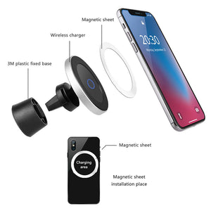 Qi Wireless Car Charger for iPhone Xs/XsMax/Xr/8plus Magnetic Phone Holder 10W Fast Car Wireless Charger for Samsung S9 S8 Note9