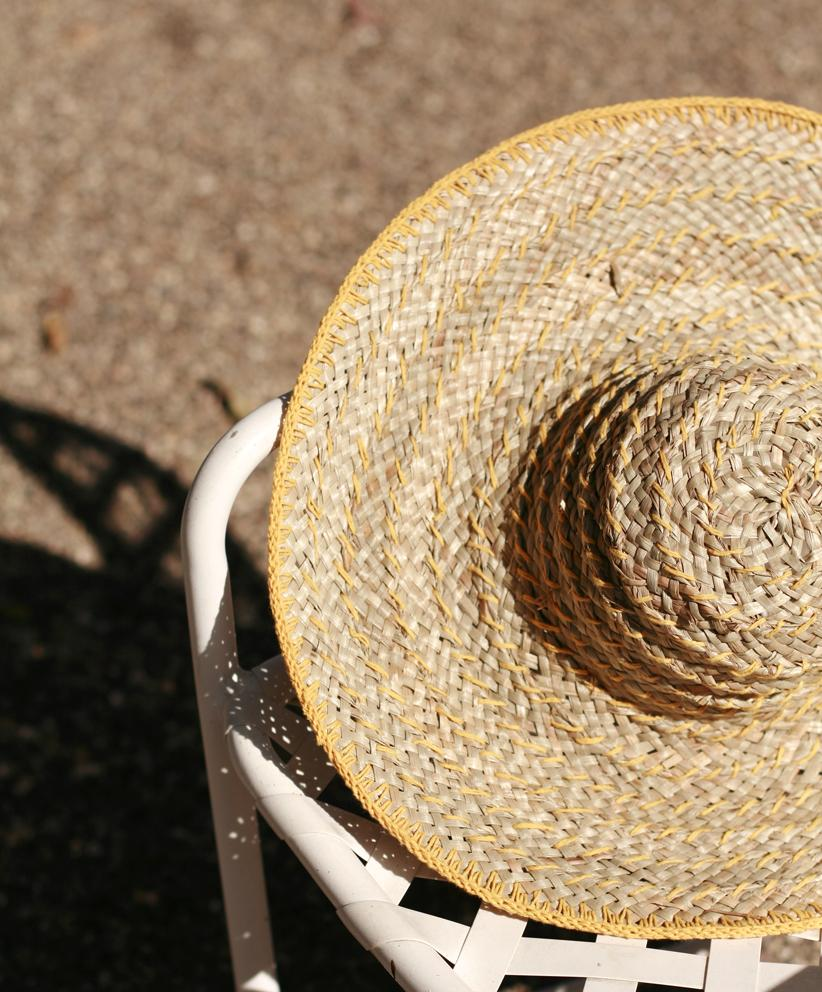 Straw Hat Yellow Balinese Pecatu Wide Round