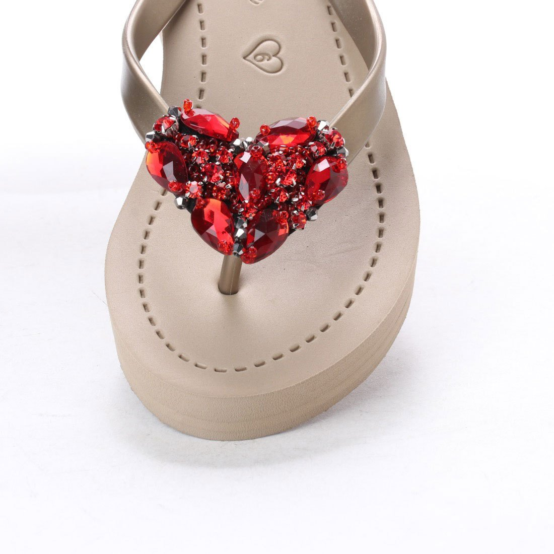 Sandals-Chelsea Heart (Red) - Women's Mid Wedge