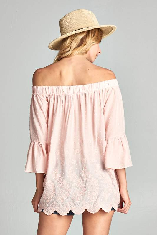 TOP EMBROIDERED OFF THE SHOULDER  WITH BELL SLEEVES