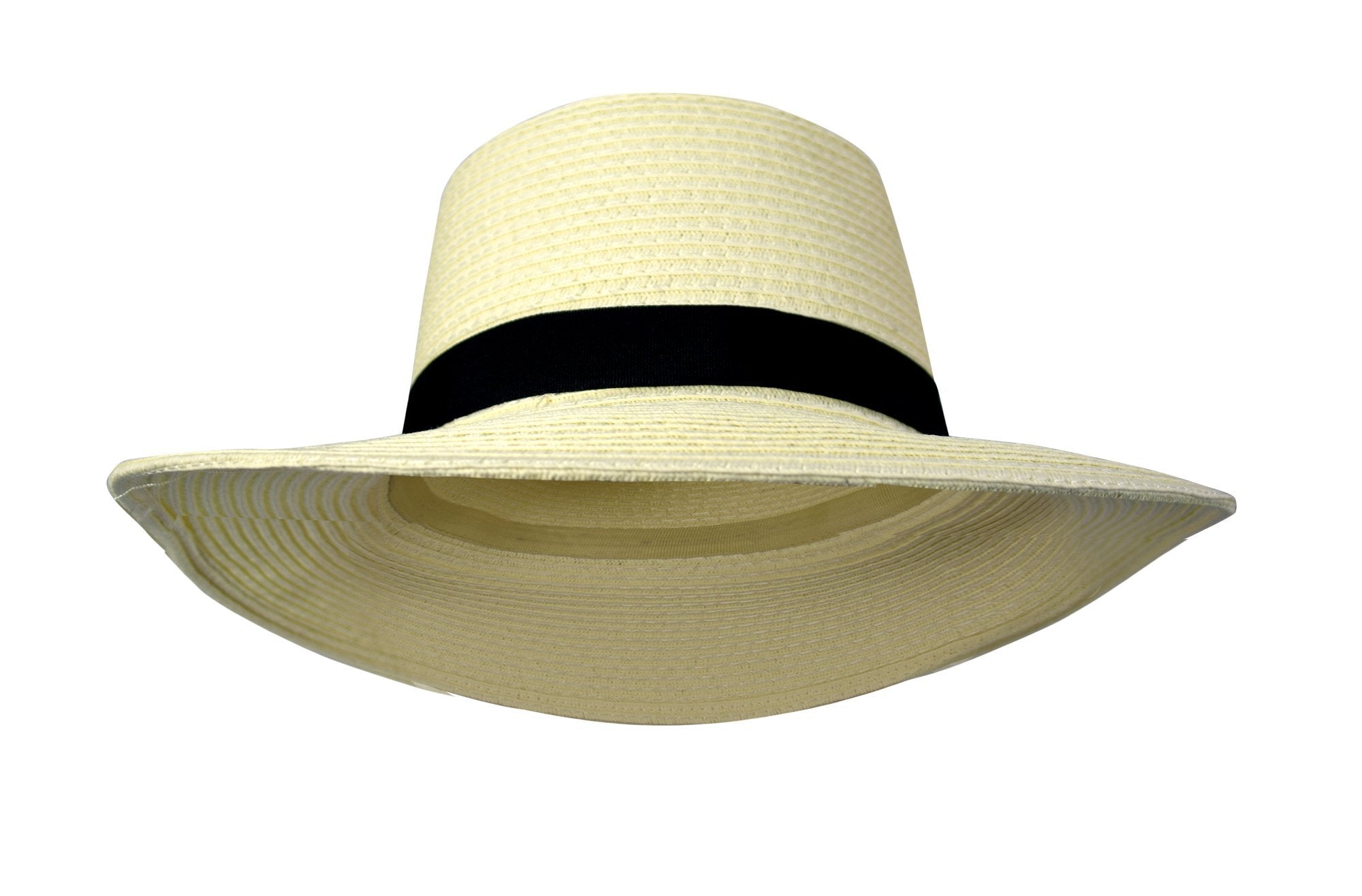 Hat-Classic Panama Hats Banded Fedora Off White