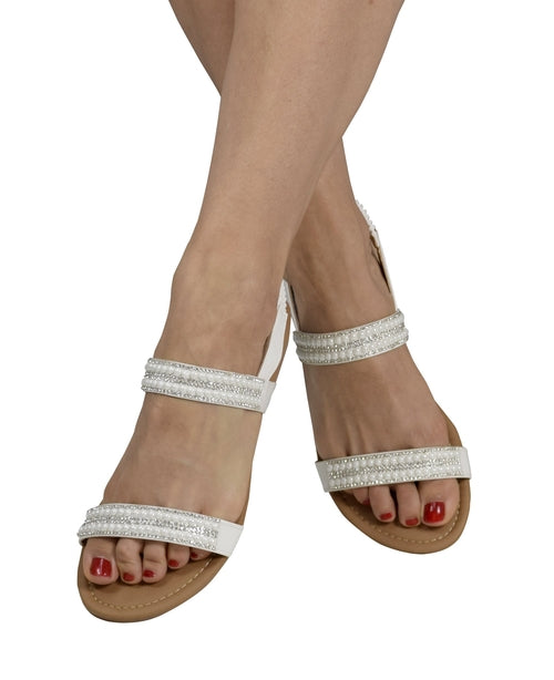 Shoes-Women Dainty Pearl Studded Gladiator Sandals-Colors