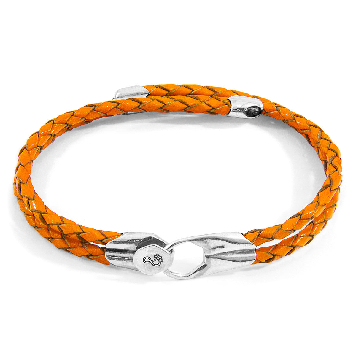 Jewely-Fire Orange Conway Silver & Leather Bracelet