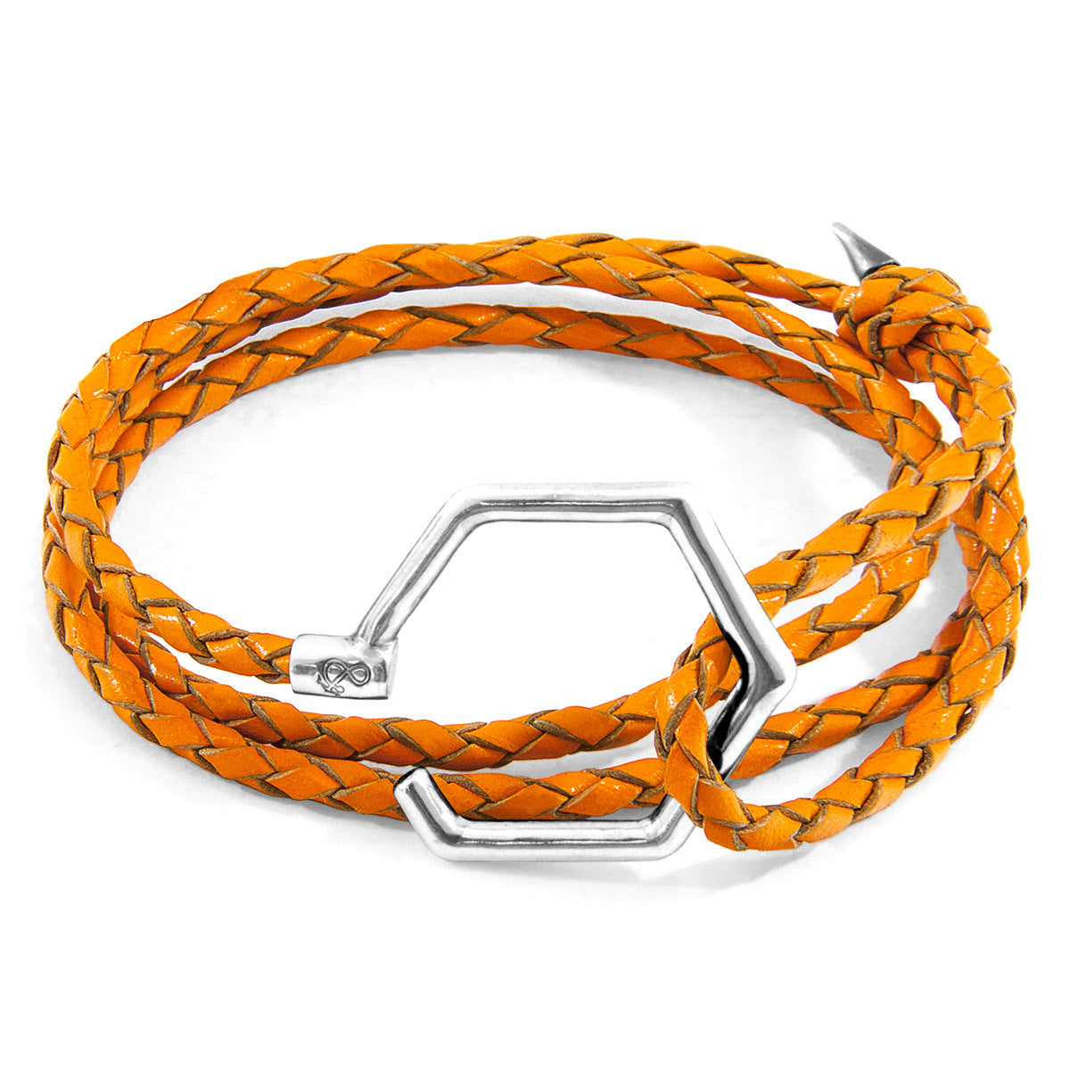 Bracelet Silver & Leather Fire Orange Nautical Jewelry